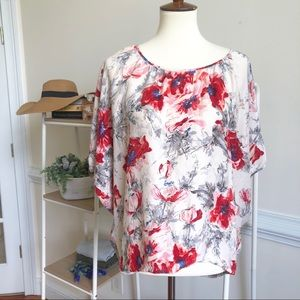 CABI 100% silk floral blouse small
